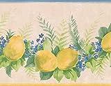 Norwall Vorpastiertes Wallpaper Border - Zitronen Glockenblumen auf Rebe Beige