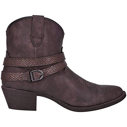 """Dingo Womens Aydra Embroidery Round Toe Boots Ankle Low Heel 1-2"""" - Brown - Size 7.5 B"""