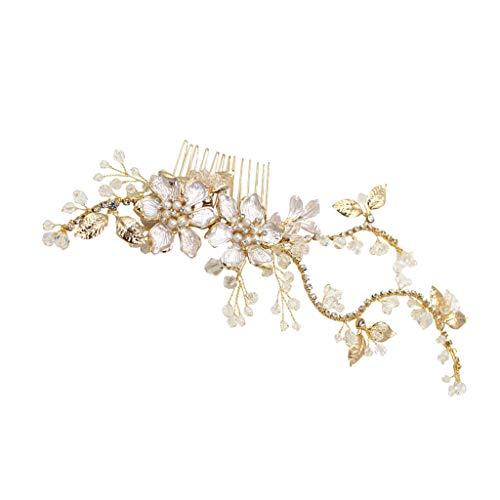 Flor de Diamantes de Imitación de Cristal Pinza de Pelo Peine Lateral Accesorio Nupcial del Pelo de La Boda - Dorado