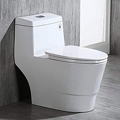 Woodbridge B0940-F T-0001 Modern One Piece Toilet with Soft Closing Seat,White Color