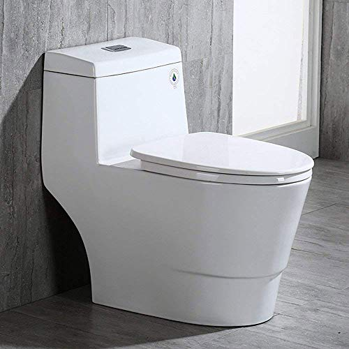 WOODBRIDGE B0940 T-0019, Dual Flush Elongated One Piece Toilet with Soft Closing Seat, Comfort Height, Water Sense, High-Efficiency, Rectangle Button, 28.5 x 14.5 x 27.5, White