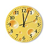 Round Wall Clock Yellow Swiss Cheese Texture Unique Kitchen Battery Operated Wall Clocks Wooden Home Decor for Home Living Room Bedroom Decoration 12 &15 Inch Clock Made in US