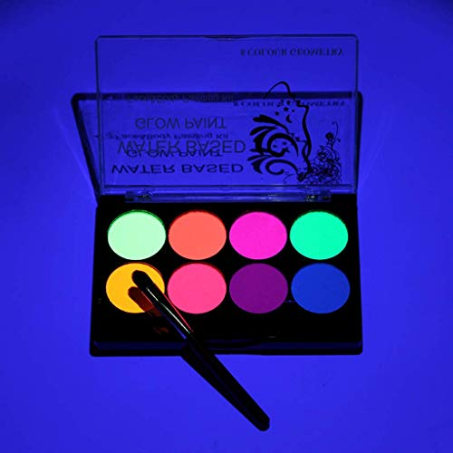 Rmeet Kit de Pintura Facial Fluorescente,8 Colores Niños Pintura Facial con 1 Pinceles Profesional No Tóxica Lavable Arte Corporal a Base de Agua para Fiesta Halloween Disfraces Cosplay