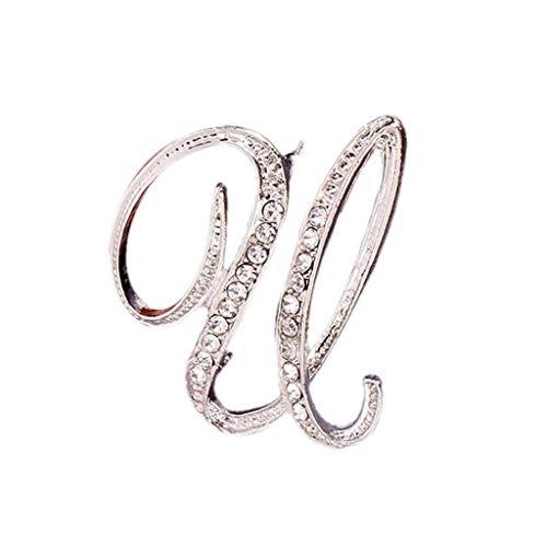 OSYARD Initialen-Brosche, Buchstaben A-Z Kristall Brosche Zubehoer der Kleidung Strass Broschen Geschenke des Geburtstags Schmuck