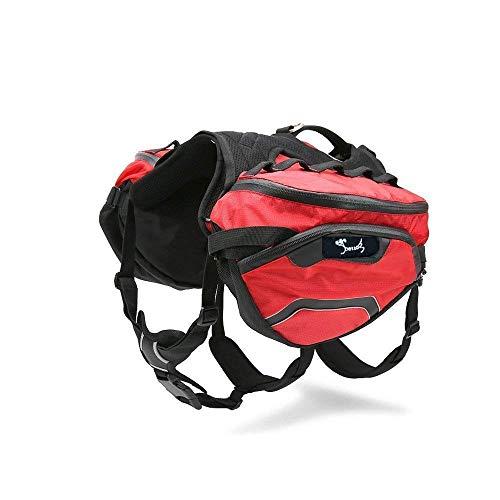 PETTOM Hunderucksack, Sattletasche für Hunde, Hundegeschirr mit Taschen, für Reisen Camping Wandern, geeignet für Kleine & Mittle & Große Hunde (M, Rot)