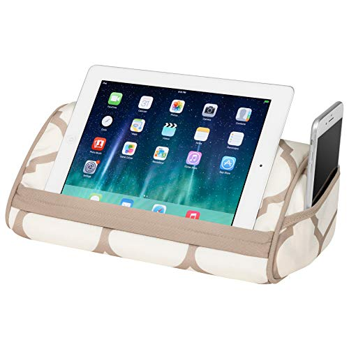 LapGear Designer Tablet Pillow Stand with Phone Pocket - Beige Quatrefoil - Fits Most Tablet Devices - Style No. 35516