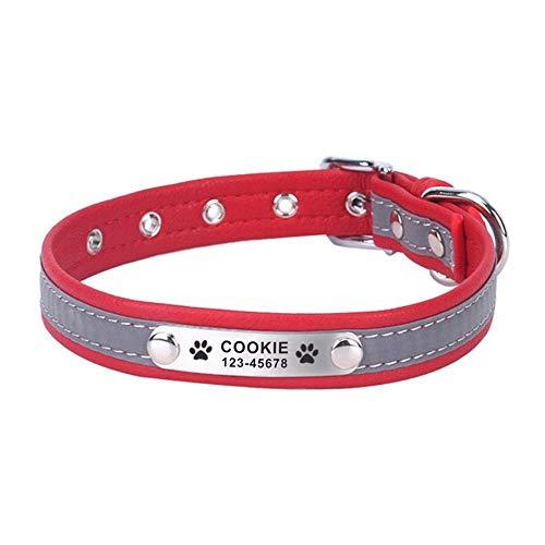 Collare per animali domestici riflettente personalizzato Targhetta per cuccioli personalizzata durevole con incisione regolabile Collari per cani di base in pelle per gatti-Red_S