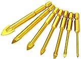 YDSHOLL 7 UNIDS/Set Calidad DE Calidad bit bits Aleación de carburo de Titanio Plateado triángulo Taladro de Vidrio tungsteno Acero azulejo Taladro eléctrico Herramientas de Mano