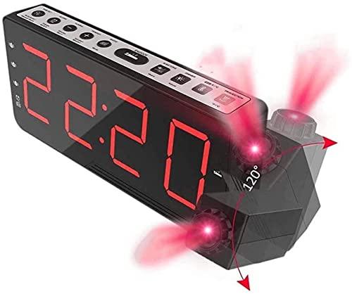 Reloj Despertador, Reloj Despertador de proyección Radio - Radio Reloj de Alarma con atenuador, Reloj de Alarma Digital Transparente