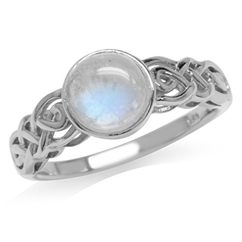 Silvershake 7mm Natural Round Shape Moonstone White Gold Plated 925 Sterling Silver Celtic Knot Solitaire Ring Size 7.5