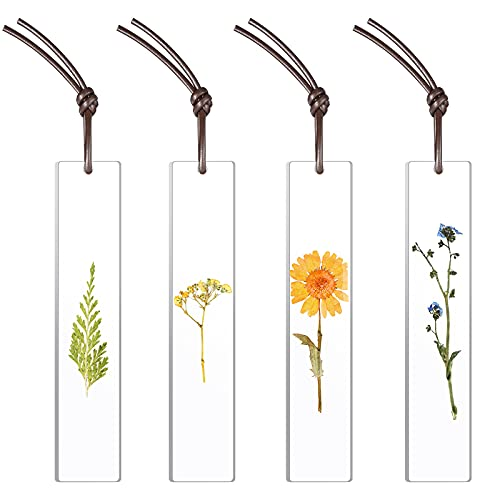 4 Pieces Bookmark Resin Dried Flowers Bookmarks Handmade Resin Floral Bookmarks for Girls Women Ladies Children Kids Teens Lovely Party Favors School Classroom Prize Reading Rewards (Chic Style)