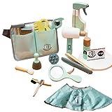 Jiaermei - Maletín de maquillaje infantil para niña, juego de madera de princesa, juego de imitación, herramientas de corte de pelo y maquillaje para niña, 3 4 y 5 años