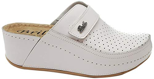 BRIL Dr Punto Rosso D130 Komfortschuhe Lederschuhe Pantolette Clog Damen, Weiß, EU 39