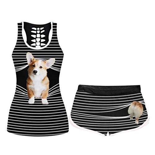 KissYou 2-Teilige Halloween-Outfits FüR Damen, Lustiges, Lockeres Hemd, DüNne, Kurze Hosen, Sportswear-TrainingsanzüGe FüR Frauen, Jogger Activewear-Set(#12,4XL)