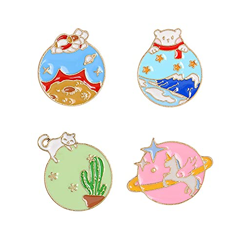 4Pcs Alloy Brooch Badge Pins Set Cat Unicorn Cactus Pins for DIY Backpacks Hats Cowboy Jackets Jewelry Student Toys Gifts