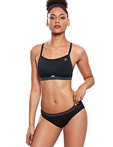 SYROKAN Damen Sport Bikini Set Badeanzug Bademode mit Abnehmbar Gepolstert Schwarz S