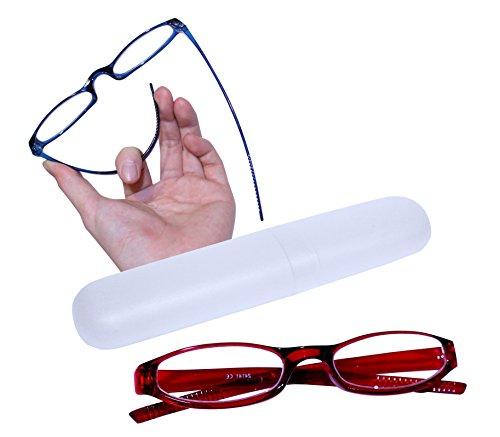 dy_mode Flexible und leichte Lesebrille Lesehilfe mit Brillenetui in 5 Farben - kompakt und stabil - LB005 (+2.00 Dioptrien, LB005 - Rot)