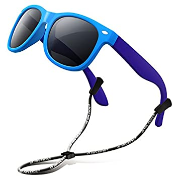 RIVBOS Kids Sunglasses Polarized UV Protection Flexible Rubber Glasses Shades with Strap for Boys Girls Age 3-10 RBK004-2 Blue&blue