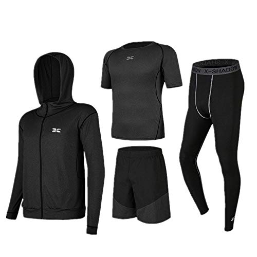 Huangjiahao - Juego de ropa deportiva para hombre, 4 piezas, de secado rápido, con ropa deportiva, pantalones ajustados de compresión, camiseta de manga corta, pantalones cortos, algodón, Negro gris., Medium