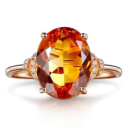 AmDxD Anillo de Oro 18 Kilates Mujer, Anillos Compromiso 4 Garras Ovalada 5ct Citrina 9mmx11.5mm con Diamante, Oro Rosa, Tamaño 20 (Perímetro: 60mm)
