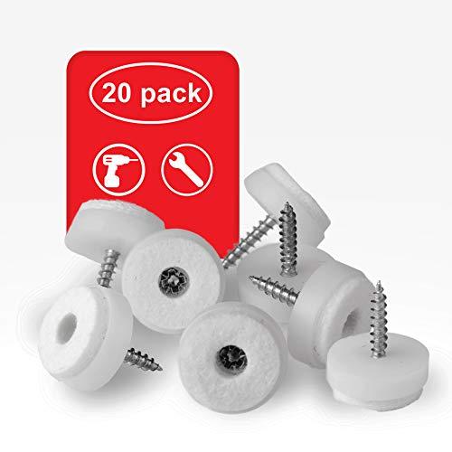 LouMaxx Stuhl Filzgleiter Schrauben – 20er Set | rund, Ø 20mm weiß | Stuhlgleiter mit 4mm dickem Filz & Kunststoffeinfassung | Premium Bodenschoner für Stühle und Möbel