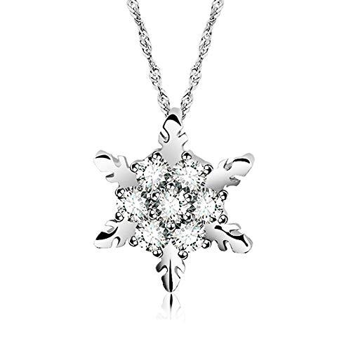 Collar Collares Y Colgantes De Color Plateado Con Flores De Circonita Y Copo De Nieve De Cristal Para Mujer