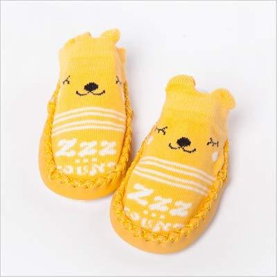 Calcetines de Moda para bebés con Suelas de Goma, Calcetines para bebés recién Nacidos, Otoño Invierno, Calcetines para niños, Zapatos Antideslizantes, Calcetines de Suela Suave-525 yellow-5-6M