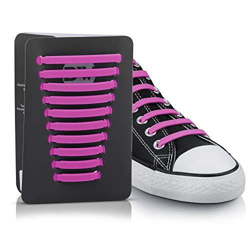Blauwerk [EINFÜHRUNGSANGEBOT] Silikon Schnürsenkel - elastische Schnürsenkel für Kinder und Erwachsene - Schnürsenkel ohne binden - Gummi Schuhbänder in 13 Farben erhältlich (Pink)