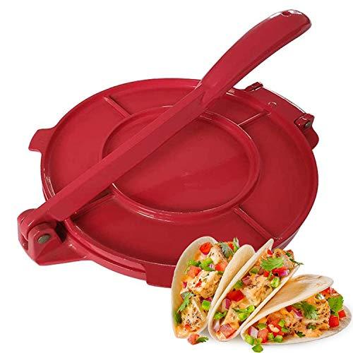 New 8 Inch Tortilla Press Maker Foldable Handle Non-Stick Tortilla Pie Maker Press Pan for Homemade Tortillas (Red)