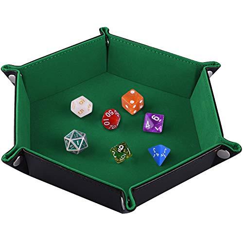 SIQUK Doppelseitige Würfelschale, Faltendes Hexagon PU-Leder und Dunkelgrüner Würfelteller für Dungeons und Dragons RPG-Würfelspiel D & D und andere Tischspiele