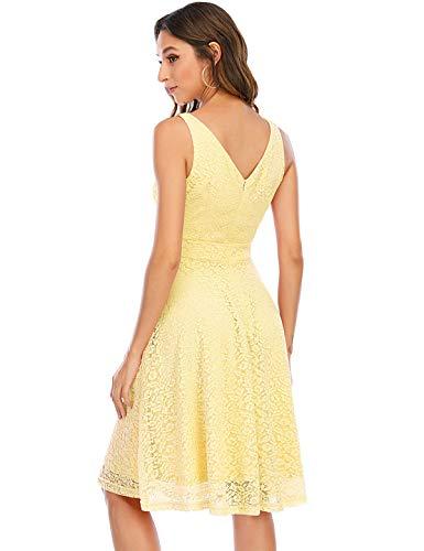Bbonlinedress Vestito Donna in Pizzo Elegante Cerimonia Cocktail Matrimonio Senza Manica Yellow XL