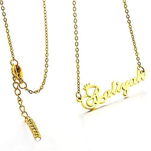 RWQIAN Collar Personalizado Nombre Cadena Collar de número Chapado en oro de 18 Quilates Mujer Novia Adolescente Joyería Oro/Plata/Rose