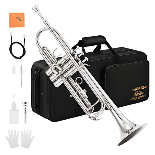 Eastar ETR-380N Trumpet Standard Bb Nickel Trumpet Set for Student Beginner with Hard Case Gloves 7C Mouthpiece Valve Oil and Trumpet Cleaning Kit