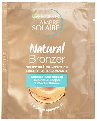 Garnier Ambre Solaire Selbstbräunungs-Tuch, Selbstbräuner mit Aprikosenkernöl, Bräunungsbeschleuniger in Gold (15 Stück)