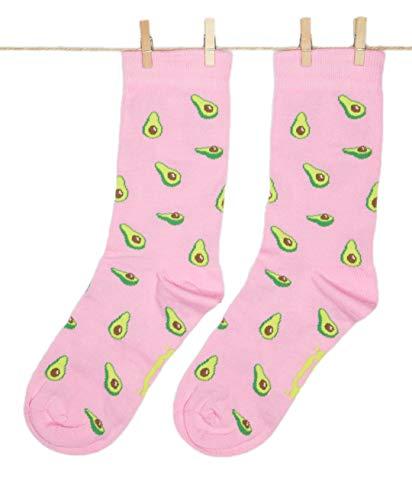Roits Damen Lustige Avocado Rosa Socken 36-40 - Bunte Witzige Socken, Odd Fun Socks