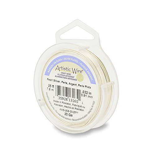 Artistic Wire 20 Gauge Silver Plated Jewelry Making Wire, 25', Pearl by Artistic Wire