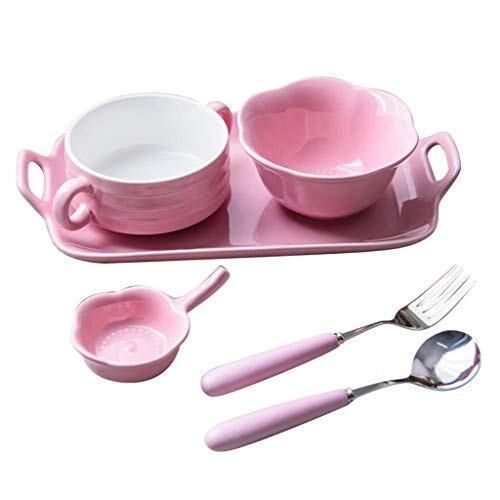 HUAHUA Bowls Parejas tazón creativo japonés fijado platos de cerámica Soup Bowl desayuno Plato de pescado hogar pink placa Vajilla