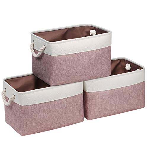 Syeeiex Fabric Rectangular Storage Basket, Large Fabric Storage Basket for Organizing Home Office, Foldable Rectangular Storage Box with Thick Handles Bedroom, Pink, 3 Pack