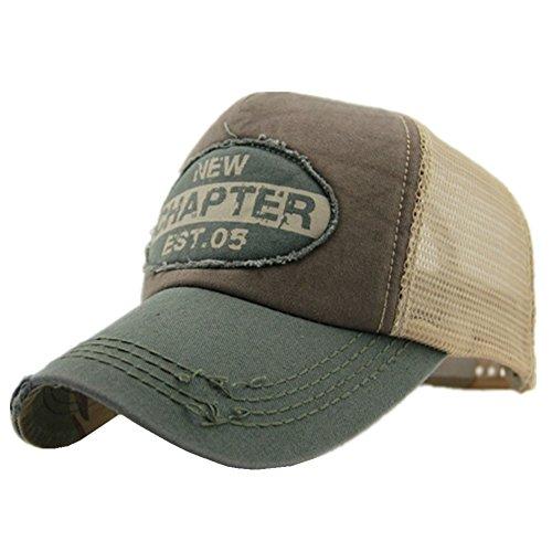 Home Prefer Mens Vintage Mesh Trucker Hat Outdoor Adjustable Snapback Baseball Cap Sun Protection Cap Army Green