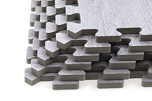 Creation Gross 6 Stück Bodenschutzmatte Holzoptik grau, inkl. 12 Randstücke, Eva Schaumstoff, Gesamtfläche: ca.124cm x 186cm / 2,3m²