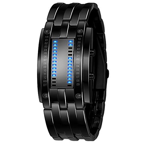 Reloj electrónico binario TXG, Reloj para hombre, Reloj LED, Reloj de acero inoxidable, Reloj resistente al agua, Reloj deportivo,Waterproof Stainless Steel Date Digital LED...