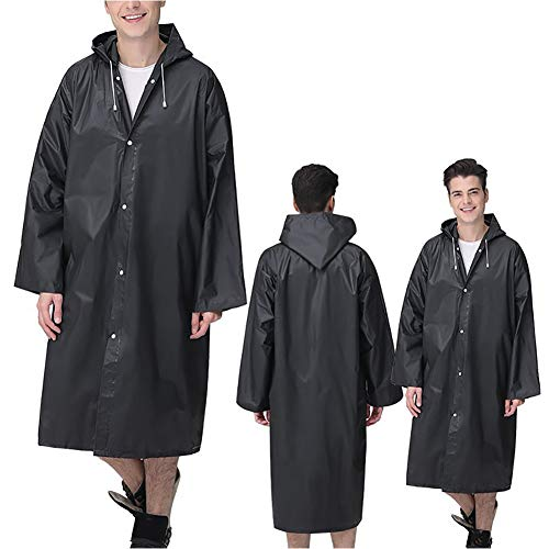 G&F Imperméable Matériau EVA Poncho Pluie avec Capuche Et Manches pour Hommes Et Femmes Extérieur Vêtements Pluie 140g (Color : Black)