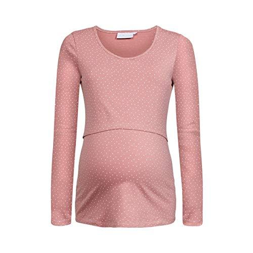 2HEARTS T-Shirt de Grossesse et d'allaitement GOTS T-Shirt de Grossesse T-Shirt de Grossesse, Pois Rose