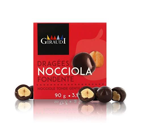 Giraudi Nocciole Piemonte IGP ricoperte di Cioccolato Fondente Artigianale, 90g, Linea Le Dragées (Confezione da 4 Pezzi)