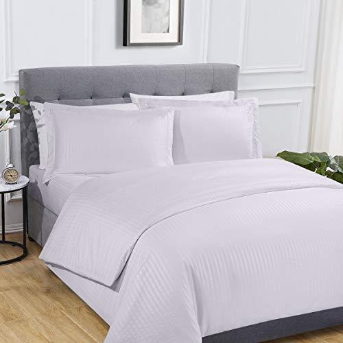 Sleepdown Juego de Funda de edredón y Funda de Almohada de satén de Color Blanco súper Suave de fácil Cuidado, con sábana Bajera de poliéster