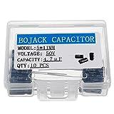 BOJACK 5X11mm 4.7 uF 50 V 4.7 MFD ± 20% Capacitores electrolíticos de aluminio (paquete de 10 piezas)