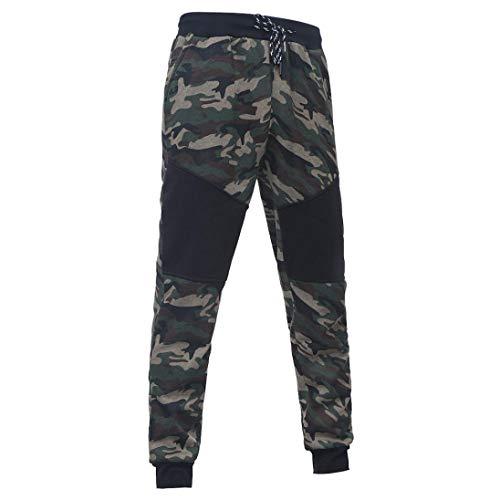 ZODOF Pantalones de chándal de Camuflaje Casuales para Hombre Pantalones de cordón Empalme de Camuflaje Negro al Aire Libre de los Hombres