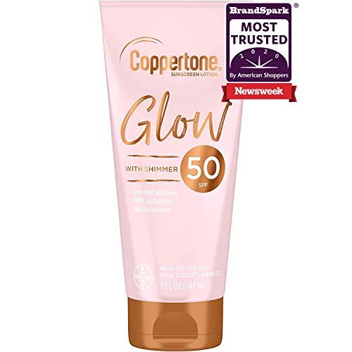 Coppertone Glow Hydrating Sunscreen Lotion with Illuminating Shimmer Minerals and Broad Spectrum SPF 50, Water-resistant, Fast-drying, Free of Parabens