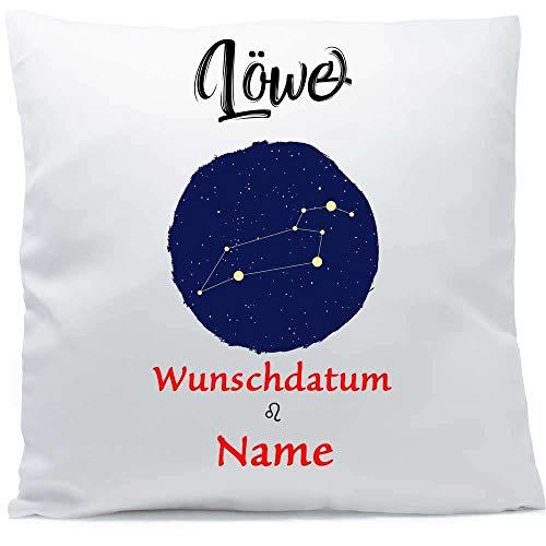 Kissen mit Namen Sternzeichen Löwe Datum 40x40 cm inkl. Füllung Kuschelkissen Wunschtext, Kissen Farbe:Vorderseite weiß/RS hellblau