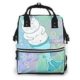 nbvncvbnbv Pretty Cat Mermaid Imagen subacuática de vectores Bolsa de pañales Mochila de viaje impermeable Bolsitas de pañales para el cuidado del bebé Bolsillos múltiples para organización Ideal par